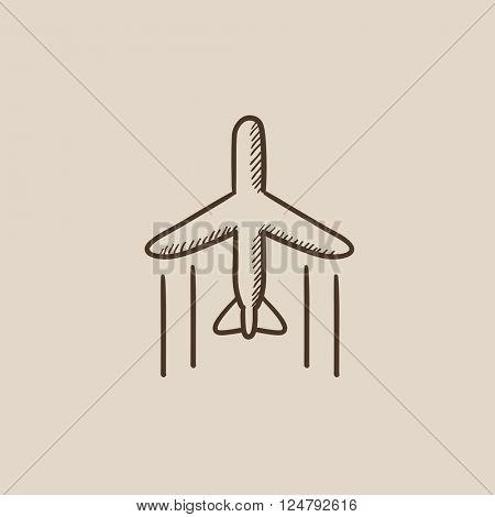 Cargo plane sketch icon.