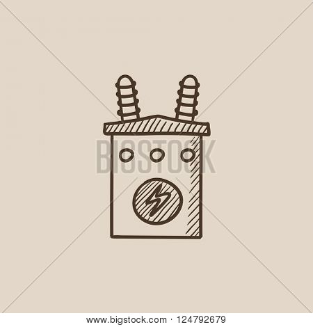 High voltage transformer sketch icon.
