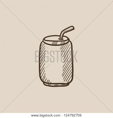 Soda can with drinking straw sketch icon.