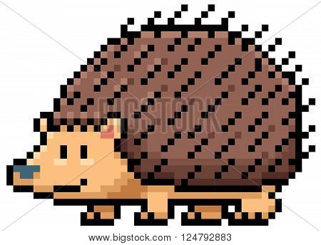Vector illustration of Hedgehog - Pixel design