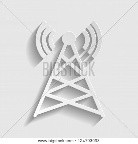 Antenna sign. Paper style icon with shadow on gray.