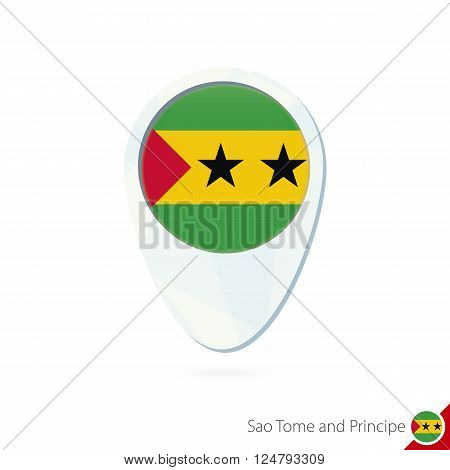 Sao Tome And Principe Flag Location Map Pin Icon On White Background.