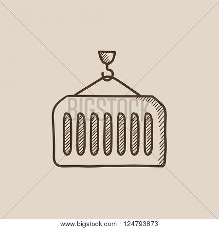 Cargo container sketch icon.