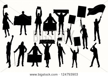 Protest people silhouette. Men & women holding flag banner cards.