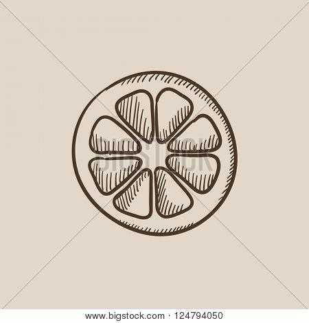 Slice of lemon sketch icon.