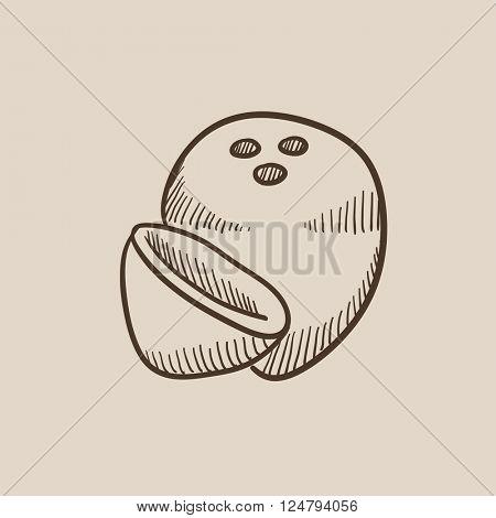 Coconut sketch icon.