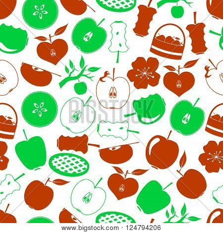 Apple Theme Simple Icons Seamless Pattern Eps10