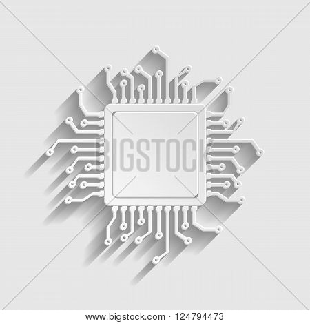 CPU Microprocesso. Paper style icon with shadow on gray.