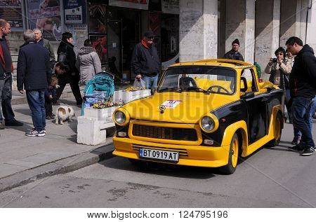 VELIKO TARNOVO, BULGARIA - MARCH 19, 2016: Convertible East German Trabant car in the street of the city