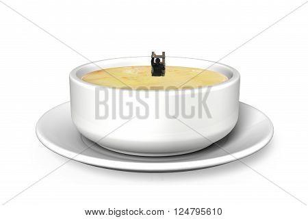 Man In Soup Bowl Climbing Ladder Up