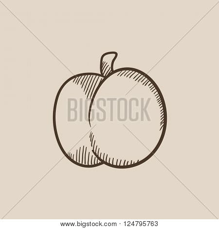 Plum with leaf sketch icon.