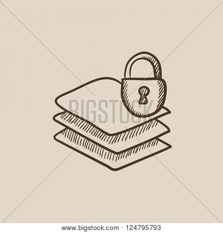 Stack of papers with lock sketch icon.