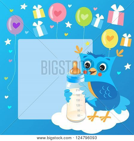 Cute Owlet With Milk Bottle. Welcome Baby Boy Card. Vector Illustration. Cute Owl Drawings. Cute Owl Cartoon.