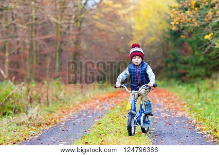 Happy kid boy of 3 years having fun in autumn forest with a bicycle on beautiful fall day. Active child making sports. Safety, sports, leisure with kids concept.