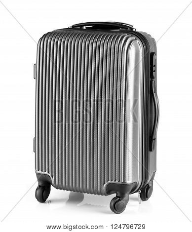 modern gray luggage with three handles and four wheels