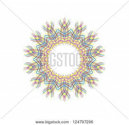Abstract color concentric shape on white for design