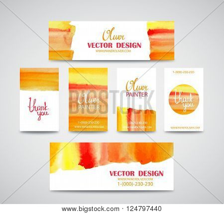 Set of watercolor business cards template and banners with hand painted brush strokes backgrounds