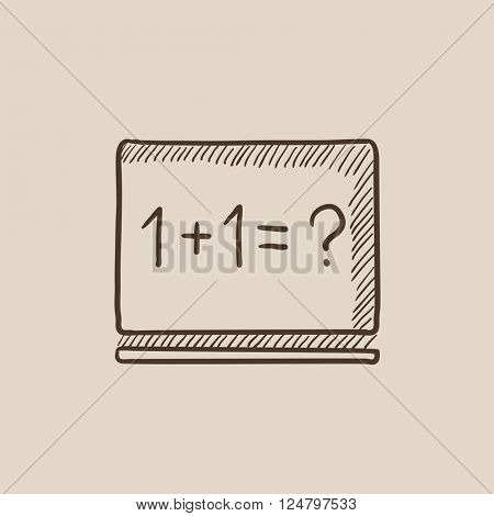 Maths example written on blackboard sketch icon.