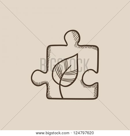 Puzzle with leaf sketch icon.