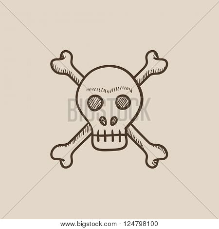 Skull and cross bones sketch icon.