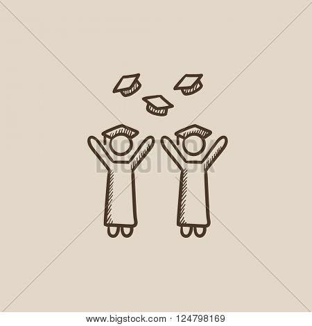Graduates throwing caps sketch icon.