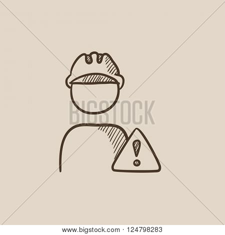Worker with caution sign sketch icon.