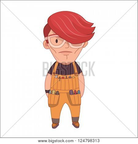 Handyman, flat cartoon vector illustration, a young red haired worker man wearing glasses and an overalls with tool pockets