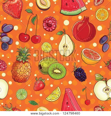 Hand drawn vector seamless pattern with bright juicy fruits and berries. Template for design