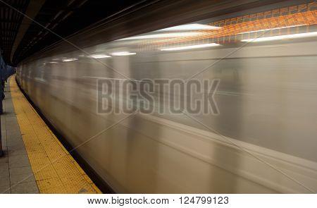 Running subway train in New York City.