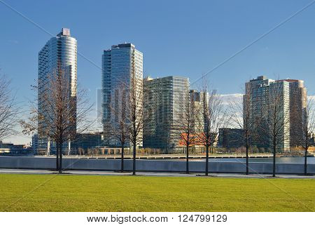 New York City USA - January 03 2016: View of the Long Island City westernmost residential and commercial neighborhood of the New York City borough of Queens from the Roosevelt Island New York City.