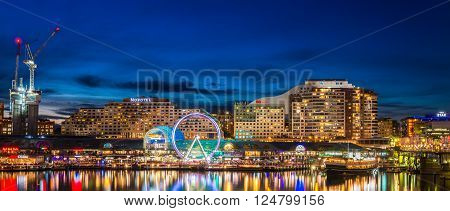 Sydney Australia - November 10 2015: Sydney city lights. Darling Harbour at night. Long exposure settings