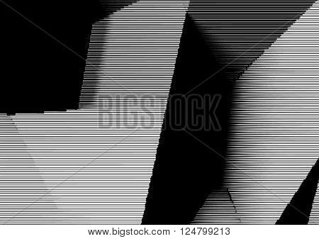 Abstract woodcut styled background with low poly cubes