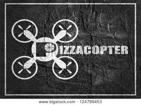 Drone quadrocopter icon. Flat symbol. Concrete textured. Pizzacopter text. Monochrome image