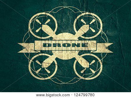 Drone quadrocopter icon. Flat symbol. Concrete textured. Drone text. Vintage elements