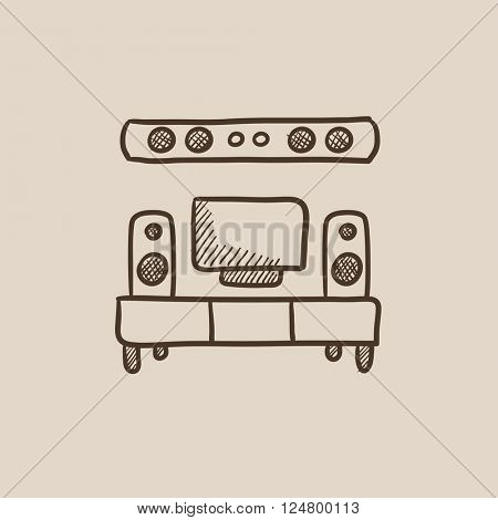 TV flat screen and home theater sketch icon.