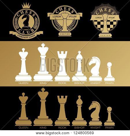 Set vector icons of chess pieces and chess clubs version of logo. Design for decoration tournaments, sports cups, logo business cards. Black, white, gold. Logo, emblems, badges - design chess events.