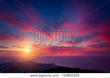 Fantastic view of the dark overcast sky. Dramatic and picturesque morning scene. Location: cape San Vito. Island Sicilia, Italy, Europe. Mediterranean and Tyrrhenian sea. Beauty world.
