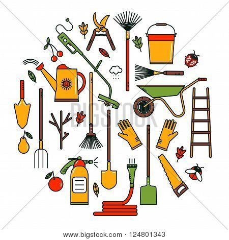 Collection of line garden tools.Set of garden tools. Vector Garden tools icons. Linear garden tools. Garden tools on white background.  Vector Garden tools concept in bright colors. Gardening.