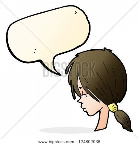 cartoon girl looking thoughtful with speech bubble