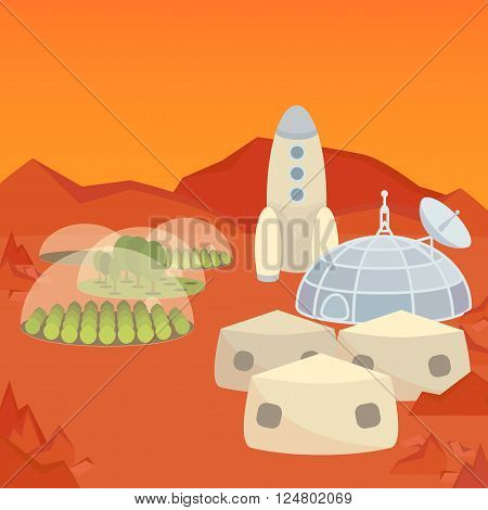 Mars colonization settlement flat vector illustration, eps10