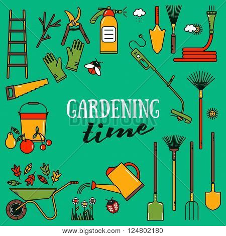 Set of garden tools. Vector Garden tools icons. Linear garden tools. Garden tools on green background. Collection of line garden tools. Vector Garden tools concept in bright colors. Gardening.