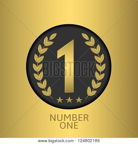 Number one symbol over golden background. Champion, winner, leader symbol. Vector illustration