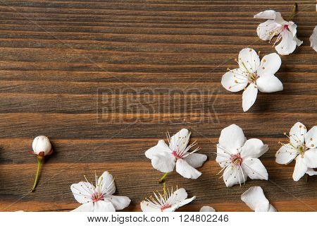 wood texture flowers on wooden background grain