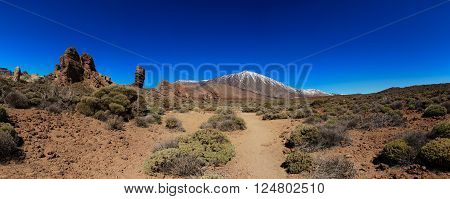 Mountain landscape on tropical island Tenerife Canary in Spain. Beautiful scene on El Teide volcano. Wide panorama