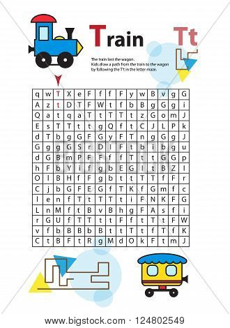 Letter Maze T. This worksheet helps kids recognize and name capital and lowercase letters. Kids also exercise thinking skills and fine motor skills as they navigate the maze. Vector train.