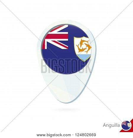 Anguilla Flag Location Map Pin Icon On White Background.