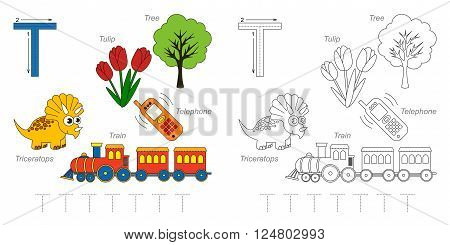 Tracing Worksheet for children. Full english alphabet from A to Z, pictures for letter T