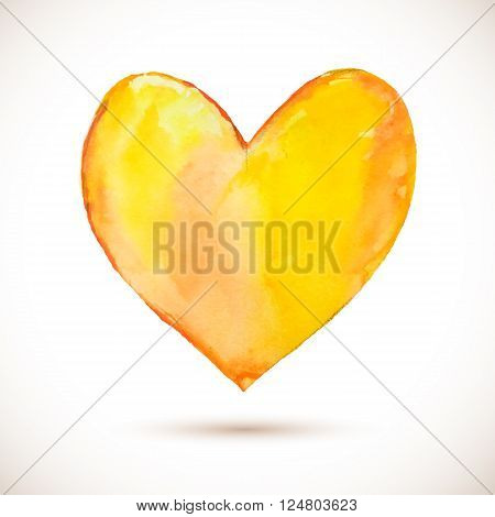 Vector watercolor yellow heart. Colorful abstract texture. Vector design elements. Vintage background. Vector orange spot
