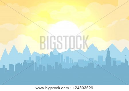 Morning city skyline. Buildings silhouette cityscape with mountains. Big city streets. Fog over city. Yellow sky with sun and clouds. Vector illustration