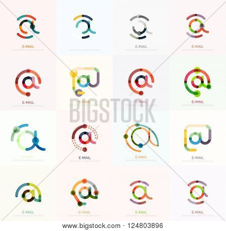 Vector email business symbols or at signs logo set. Linear minimalistic flat icons - collection connected multicolored segments of lines